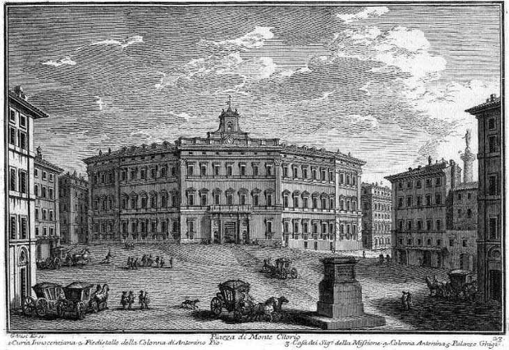 etching of Montecitorio by Giuseppe Vasi