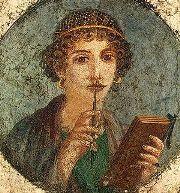 Donna con libro e stilo - Affresco pompeiano
