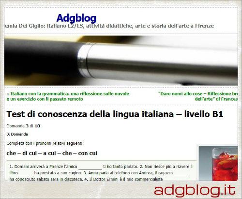 Test di conoscenza della lingua italiana – livello B1 | Adgblog