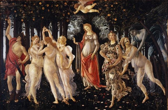 un bosco di aranci un angioletto che sferra una freccia persone che ballano al centro lei una donna che interpreta la primavera