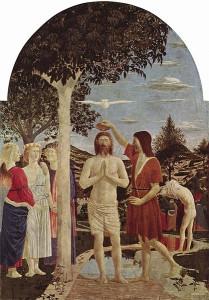 Il battesimo di Gesù di Piero della Francesca (1420 - 1492), tempera su legno