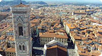 Giotto's bell tower seen from the top of the Duomo from