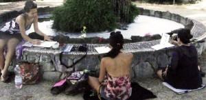 Disegno e acquarello in un giardino di Firenze