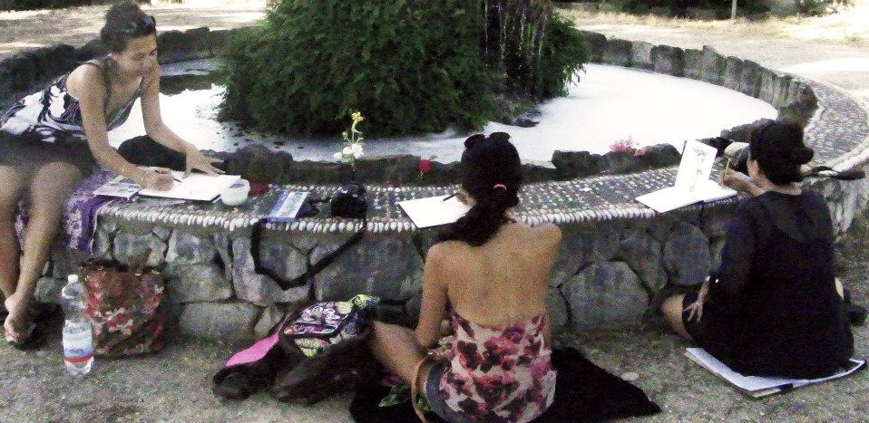 Sketching and water color painting in a garden of Florence