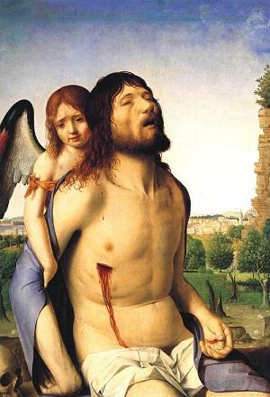 Cristo morto sostenuto da un angelo o La pietà Antonello da Messina 1476-1478