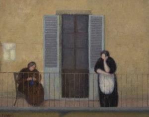 Fillide-Giorgi-Levasti_Donne-sulla-terrazza-che-cuciono 1929