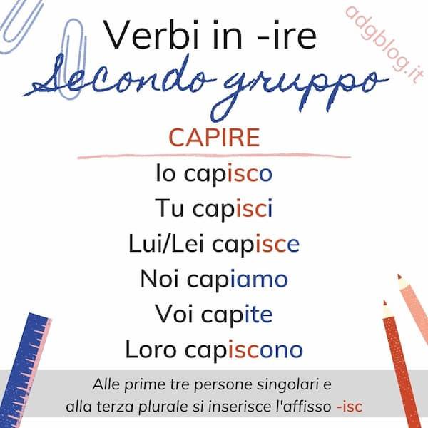 verbi in ire secondo gruppo